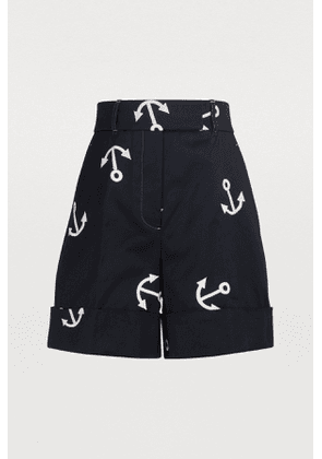 Embroidered high-waisted shorts