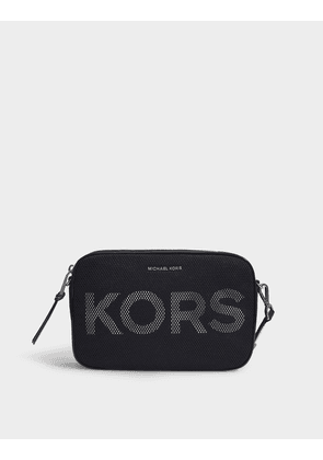 Large East West Crossbody Bag in Black and White Printed Mesh