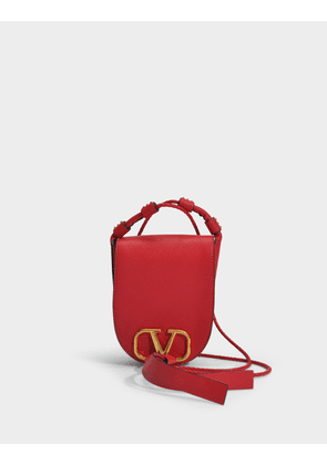 Small Saddle Bag in Red Calfskin