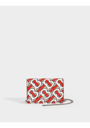 Jessie Chain Card-Case with Removable Chain in TB Monogramed Vermillion Calfskin