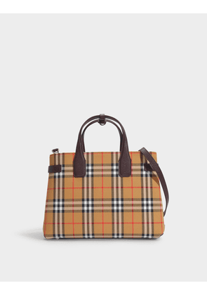The Banner Medium Bag in Vintage Check Cotton and Straps in Claret Goat Leather