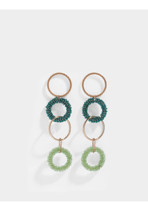 Les Boucles Riviera Earrings in Brass and Green Swarovski Crystals