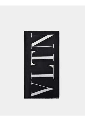 VLTN Scarf in Black and White Wool