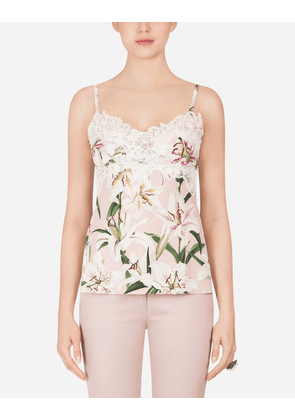 Dolce & Gabbana Underwear and Socks - LILY-PRINT CHARMEUSE TOP FLORAL PRINT