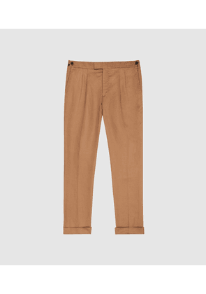 Reiss Alabama - Linen Blend Trousers in Tobacco, Mens, Size 28