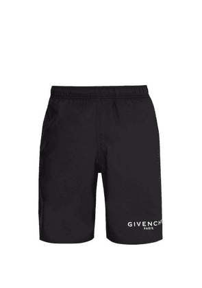 Givenchy - Logo Print Satin Swim Shorts - Mens - Black