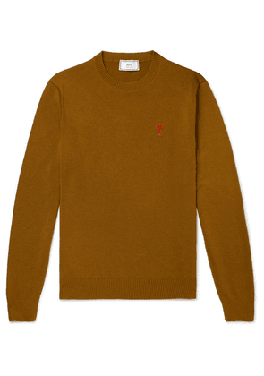 AMI - Logo-appliquéd Merino Wool Sweater - Brown