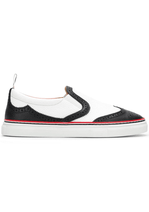 Thom Browne Leather Slip-On Wingtip Trainer - Black