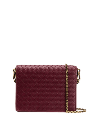Bottega Veneta woven flap shoulder bag - Red