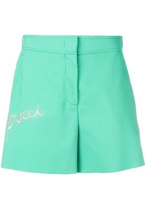 Emilio Pucci Logo Embroidered Shorts - Green