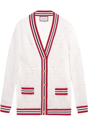 Gucci GG knit elongated cardigan - White