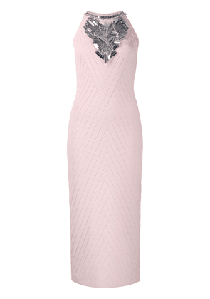 Balmain embellished fitted mid dress - Pink