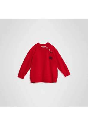Burberry Childrens Contrast Motif Cashmere Sweater, Size: 3Y, Red
