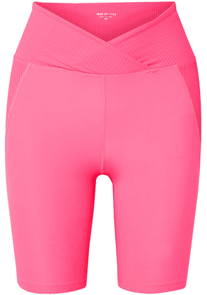 Year of Ours - Studio Biker Paneled Stretch Shorts - Bright pink