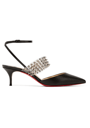 Christian Louboutin - Levita 55 Spiked Pvc And Lizard-effect Leather Pumps - Black