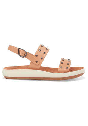 Ancient Greek Sandals - Dinami Studded Leather And Suede Slingback Sandals - Neutral