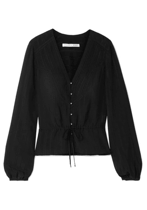 Veronica Beard - Phoebe Pintucked Silk-blend Voile Blouse - Black