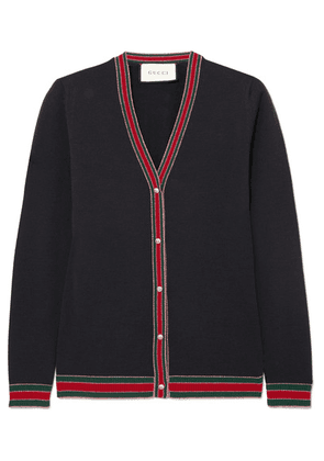 Gucci - Striped Wool Blend-trimmed Wool Cardigan - Navy