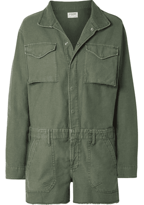 FRAME - Service Cotton-canvas Playsuit - Army green