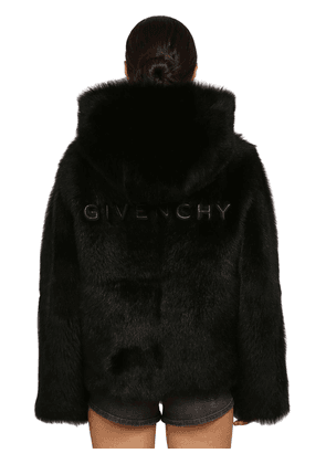 Logo Hooded Shearling Coat