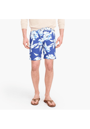 9' board short in large blue floral print