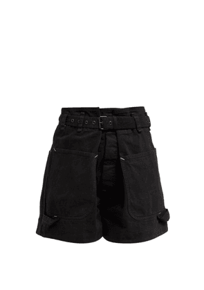 Isabel Marant - Ike Paperbag Waist Belted Cotton Shorts - Womens - Black