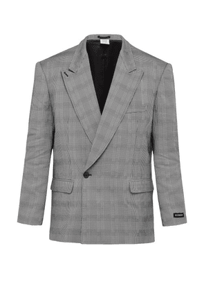 Vetements - Houndstooth Double Breasted Blazer - Mens - Grey