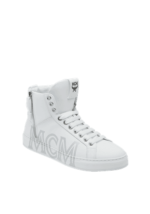 Men's High Top Sneakers In Logo Leather