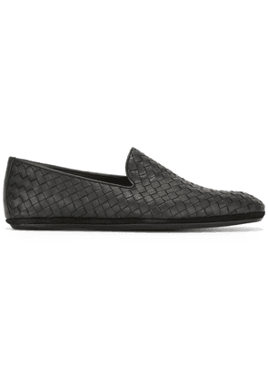 Bottega Veneta nero Intrecciato calf slipper - Black