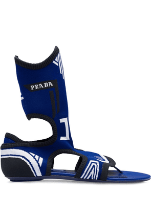 Prada knit sock sandals - Blue