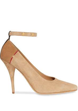 Burberry Triple Stud Stripe Detail Suede Point-toe Pumps - Neutrals