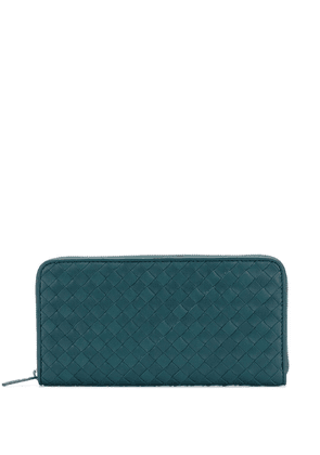 Bottega Veneta woven zipped wallet - Green