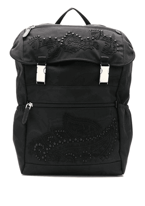 Etro embroidered detail backpack - Black
