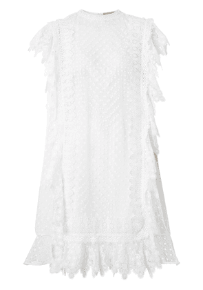 Burberry Scalloped Lace and Polka-dot Tulle Dress - White