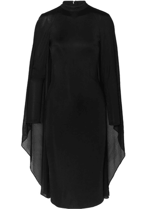 TOM FORD - Cape-effect Satin-jersey And Chiffon Dress - Black