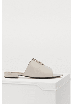 Mules with zippered detailing