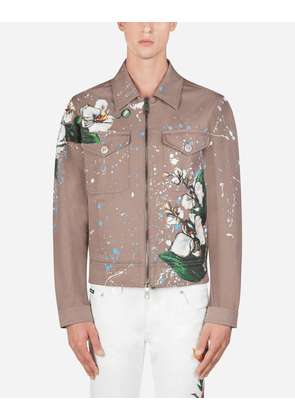 Dolce & Gabbana Collection - COTTON JACKET WITH ORCHID PRINT BEIGE