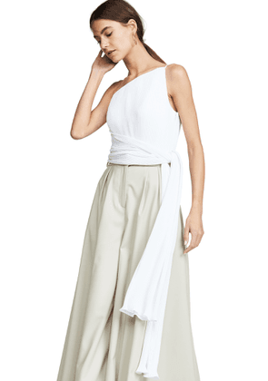 Brandon Maxwell Asymmetric Pleated Top with Side Drape