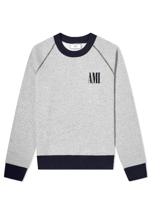 AMI Crew Logo Crew Sweat Grey & Navy