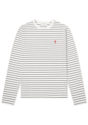AMI Long Sleeve Heart Logo Stripe Tee Ecru & Marine