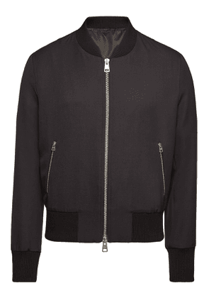 ami Zipped Bomber Jacket with Knit Wool Trim