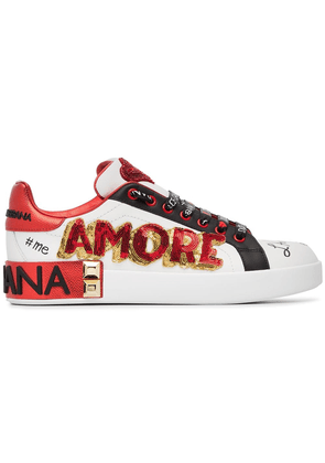 Dolce & Gabbana white, red and black amore heart embroidered leather