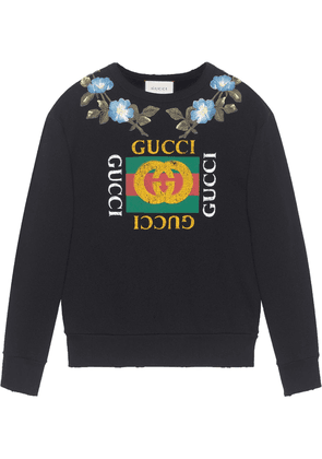 Gucci Cotton sweatshirt with Gucci logo and flowers - Black