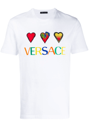 Versace embroidered hearts T-shirt - White
