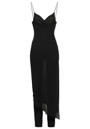 Balmain Wrap-effect Layered Crepe Jumpsuit Woman Black Size 40