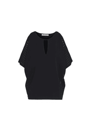 Autumn Cashmere Off-the-shoulder Pointelle-trimmed Knitted Top Woman Black Size L