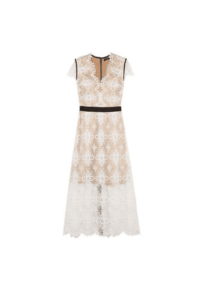 Catherine Deane Garland Macramé Lace Midi Dress Woman Ivory Size 10