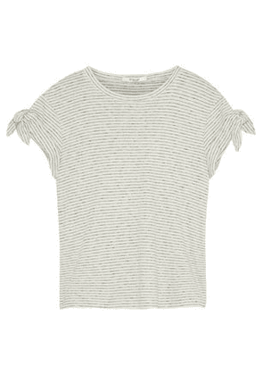 Derek Lam 10 Crosby Knotted Striped Cotton-jersey T-shirt Woman Cream Size XS