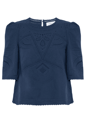 Derek Lam 10 Crosby Broderie Anglaise Cotton Blouse Woman Navy Size 8