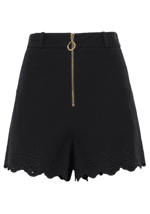 Derek Lam 10 Crosby Broderie Anglaise-trimmed Stretch-cotton Shorts Woman Black Size 0